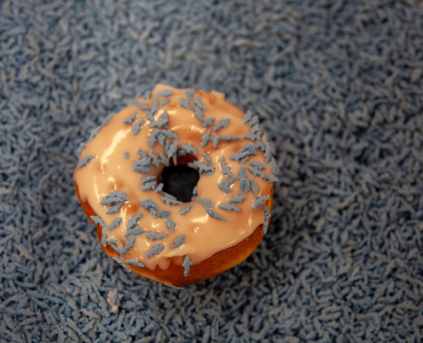 Maritime Coffee Time blue shark sprinkled donut